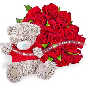 A bouquet of red roses + teddy bear